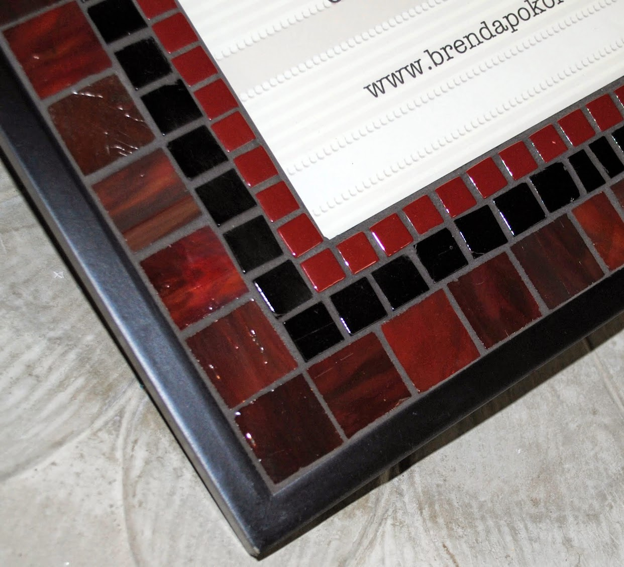 "Deep Burgundy & Black 8"" x 10"" Mosaic Photo Frame MOF1397"