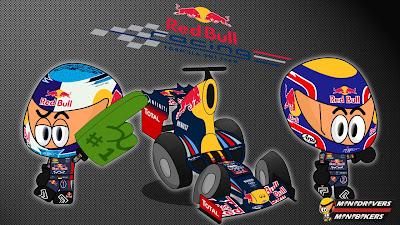 Red Bull RB8 и пилоты Себастьян Феттель и Марк Уэббер - Los MiniDrivers 2012