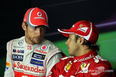 Дженсон Баттон и Фелипе Масса на послегоночной пресс-конференции Гран-при Бразилии 2012