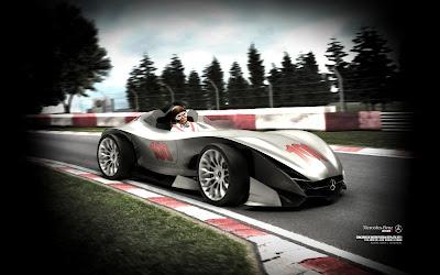 Хуан-Мануэль Фанхио за рулем болида Mercedes-Benz W100F - обои