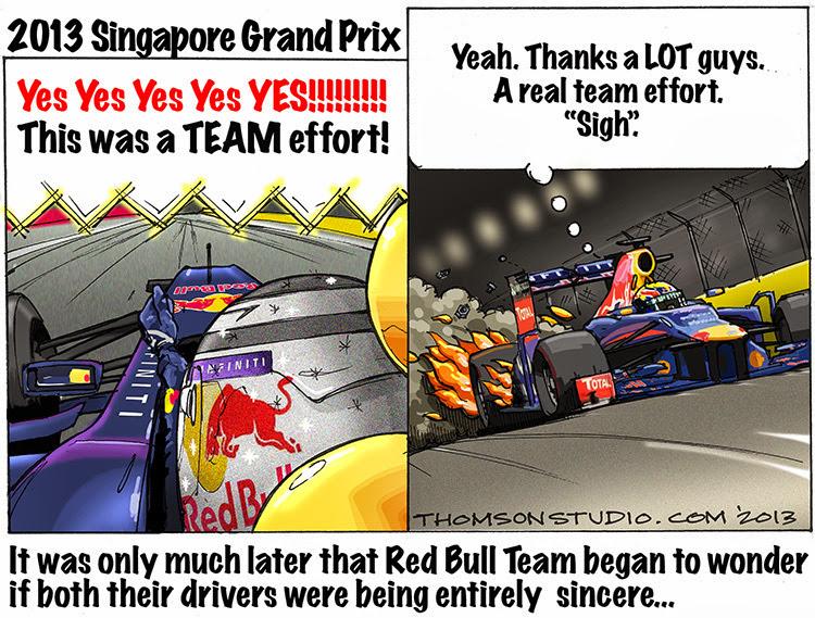 командная работа Red Bull на Гран-при Сингапура 2013 - комикс Bruce Thomson