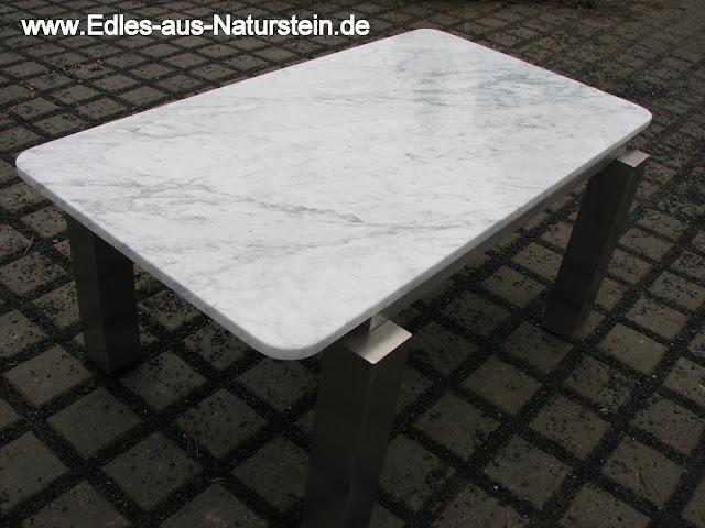 Tisch couchtisch edelstahltisch weisser marmor wohnzimmer for Weisser tisch mit dunkler platte