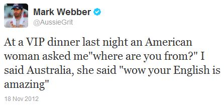 Марк Уэббер в твиттере на Гран-при США 2012