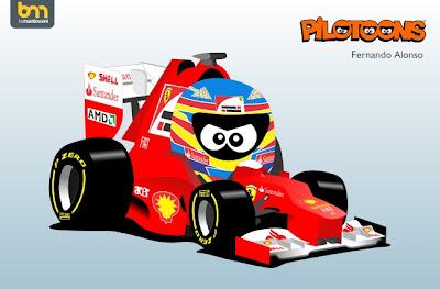 Фернандо Алонсо Ferrari 2012 pilotoons by Bruno Mantovani