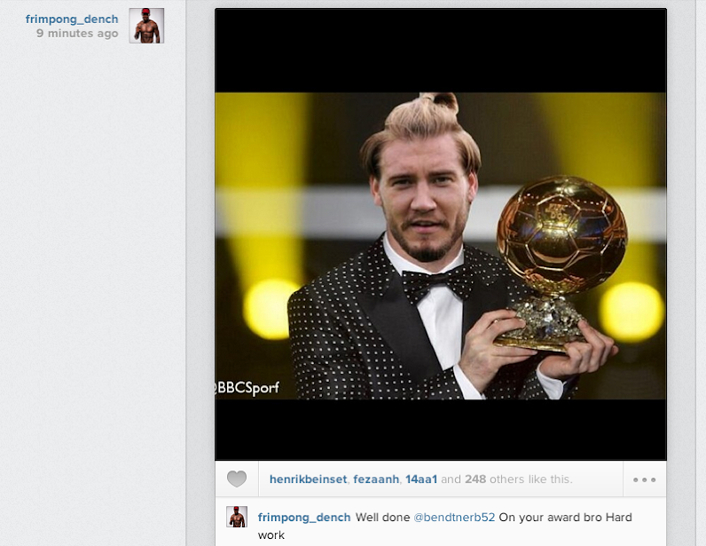 Screen+Shot+2014 01 13+at+21.18.37 Emmanuel Frimpong Trolls Arsenal team mate Nicklas Bendtner on Ballon dOr win!