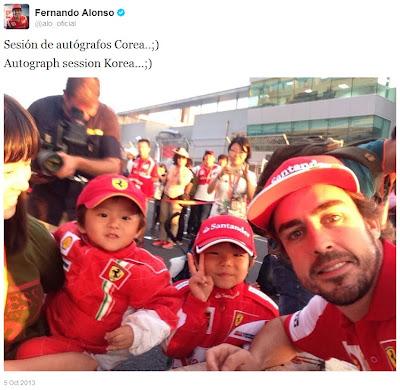 Фернандо Алонсо в твиттере на автограф-сессии Гран-при Кореи 2013