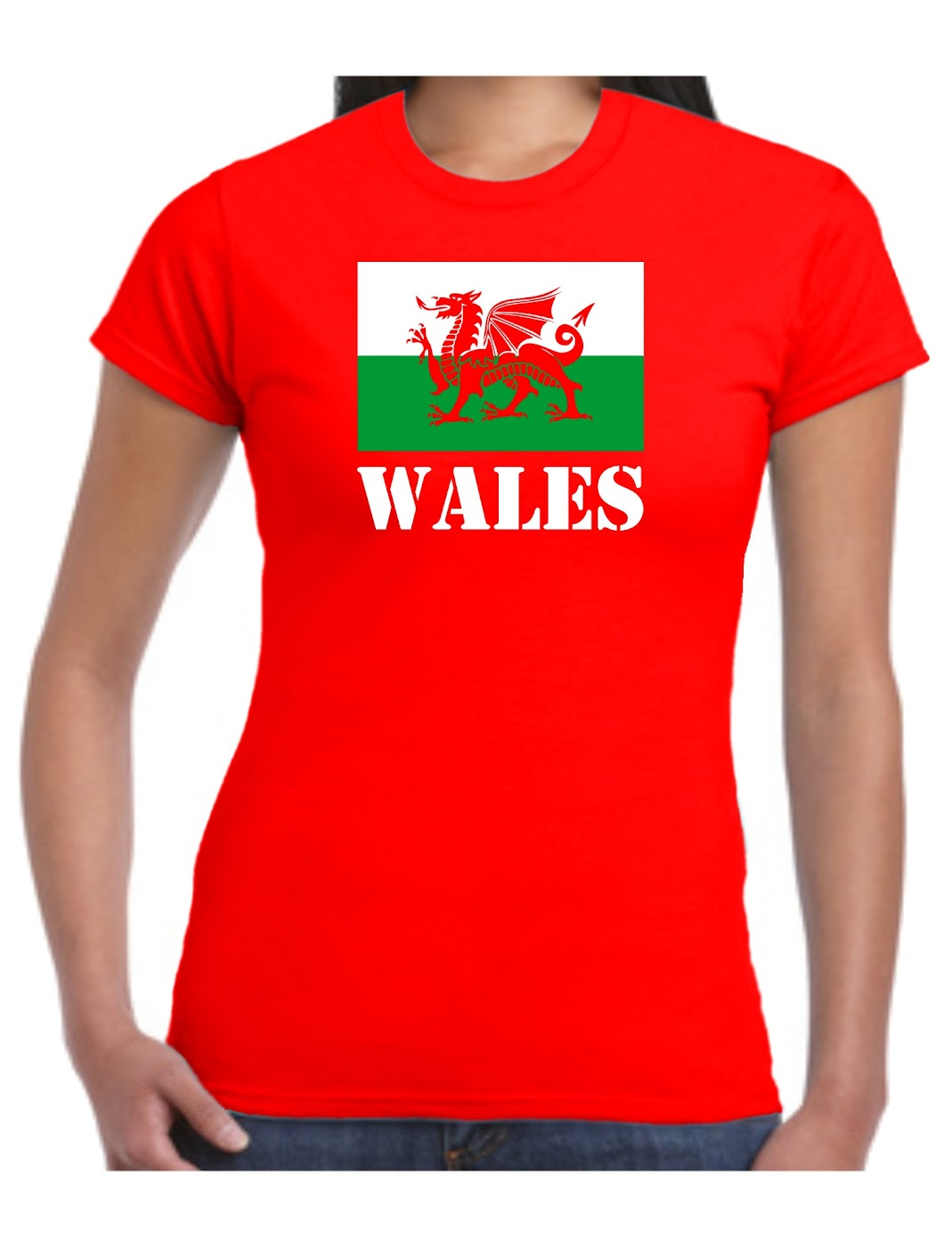ladies wales t shirt welsh flag st davids day dragon of