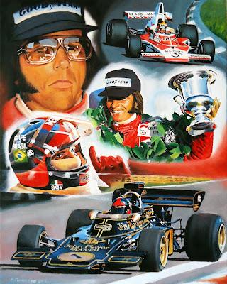 Эмерсон Фиттипальди чемпион 1972 и 1974 за Lotus и McLaren - рисунок Roman Goloseev