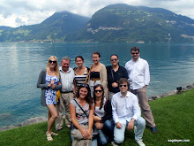 Mr Werner Schmitt and the ESTA Festival Chamber Ensemble in front of the lake Thun