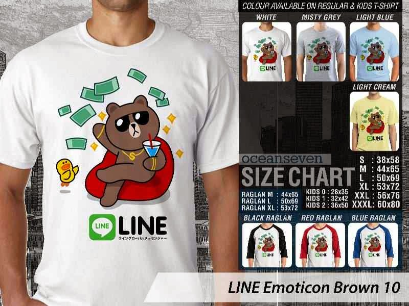 KAOS IT LINE Emoticon Brown 10 Social Media Chating distro ocean seven