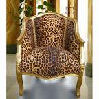 Bergère de style Louis XV leopard et bois doré
