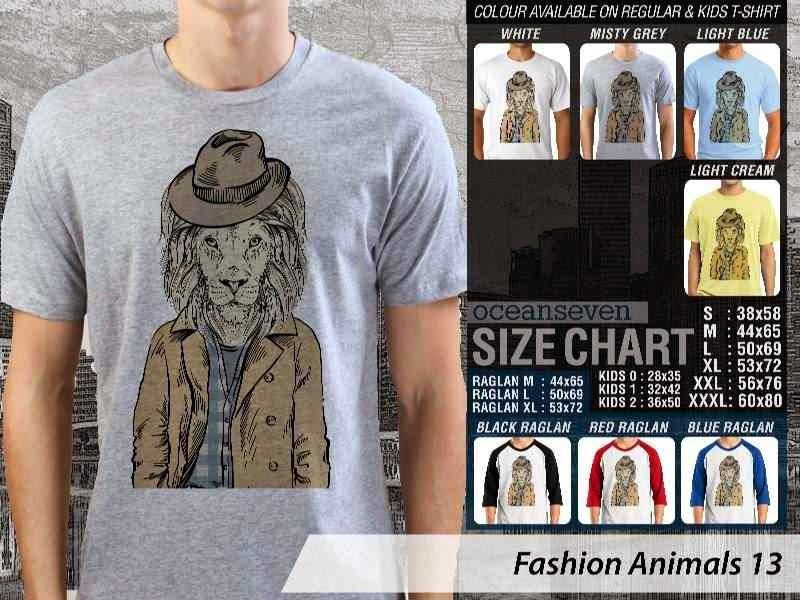 Kaos Fashion Animals 13 Binatang Singa Lion distro ocean seven