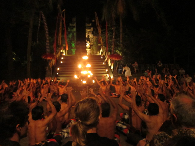 "A chorus of men repeatedly chanting ""kay-chak, kay-chak, kay-chak"" provide the instrumentation for the Kecak show."