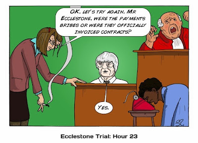 Берни Экклстоун дает показания в суде - комикс Stuart Taylor