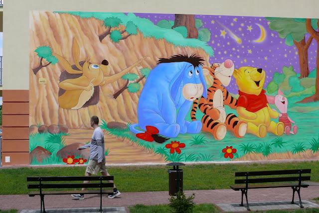 Malowanie obrazu na ścianie, grafika ścienne, obraz na bloku w Ząbkach