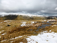 Near the summit of Steel Fell with only a bit of snow around. It was actually more boggy than snowy.