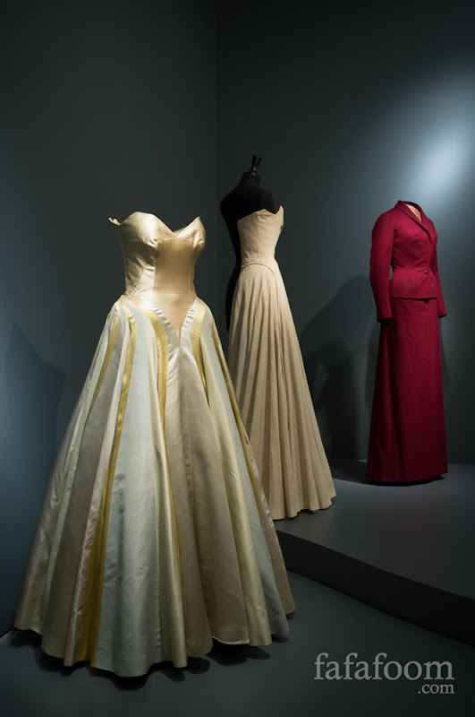 "(Left-most) Charles James, ""Ribbon"" gown, 1946."
