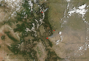 NASA satellite imagery taken on the afternoon of June 11, 2013 captured the smoke plumes from the Big Meadows Fire, Black Forest Fire, and Royal Gorge Fire in Colorado.