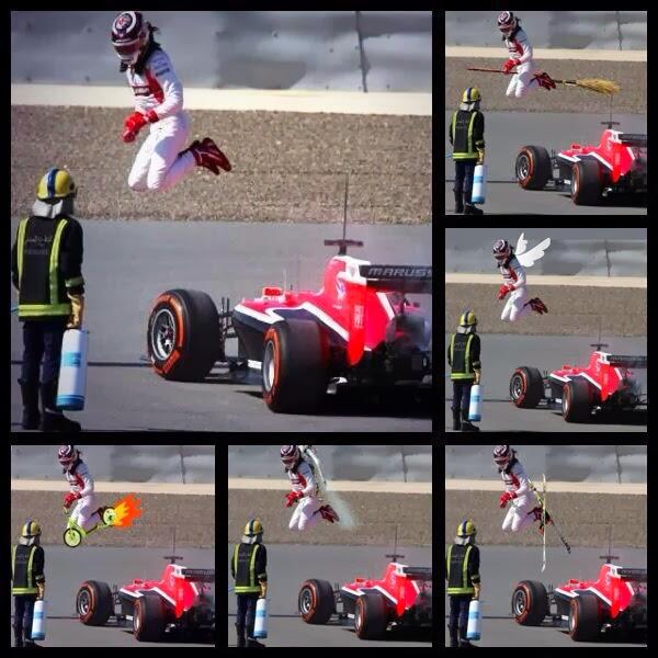 фотошопы прыжка Макса Чилтона на тестах в Бахрейне 21 февраля 2014