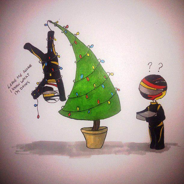 комикс Кими Райкконен на елочной гирлянде и Ромэн Грожан