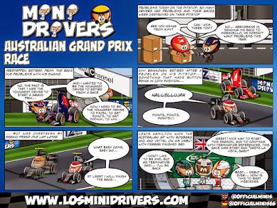 комикс Los MiniDrivers по гонке на Гран-при Австралии 2015