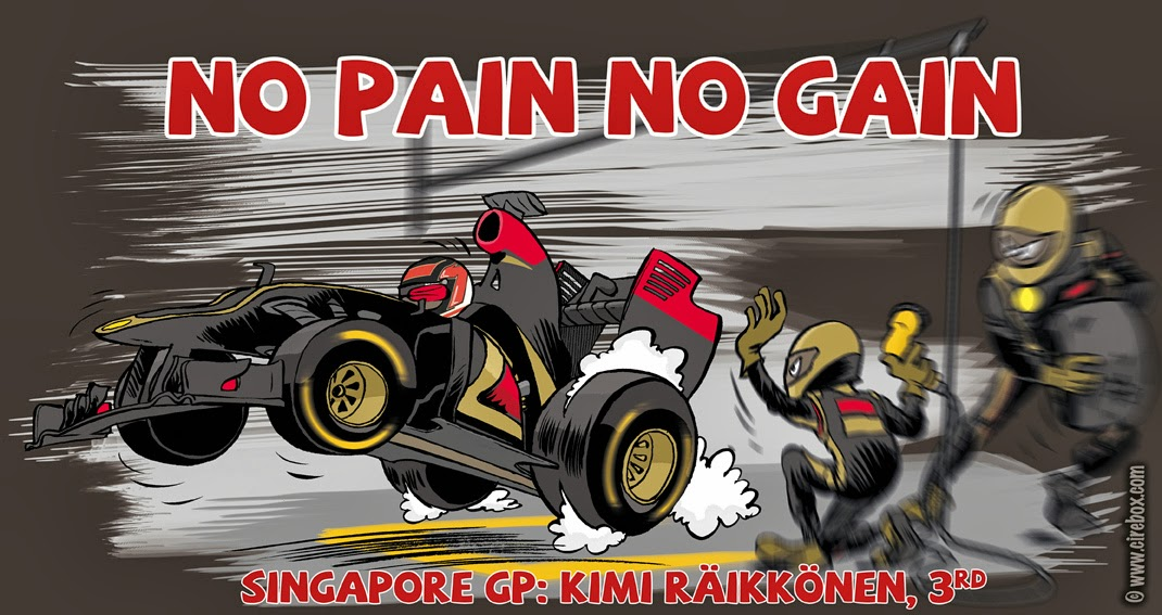 Кими Райкконен комикс No Pain No Gain от Cirebox по Гран-при Сингапура 2013