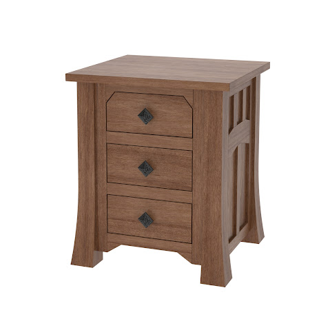 Edmonton Nightstand with Drawers, Modern Cherry