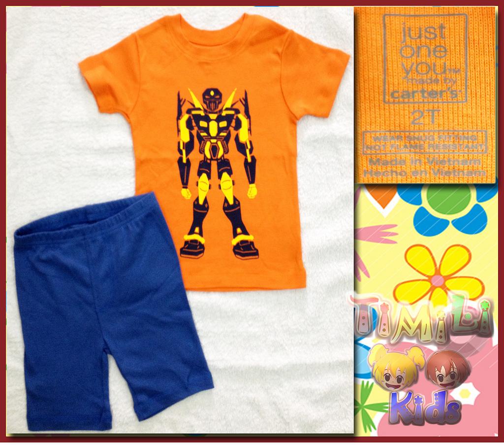 Bộ bé trai Carter's hàng xuất xịn, hình robot màu cam.