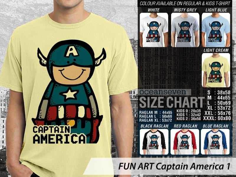 KAOS Captain America 1 Kartun Lucu distro ocean seven
