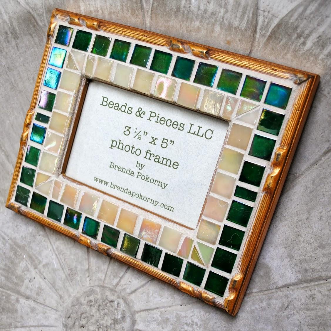 Ornate Gold & Teal Green 3 1/2 x 5 Mosaic Photo Frame MOF1378