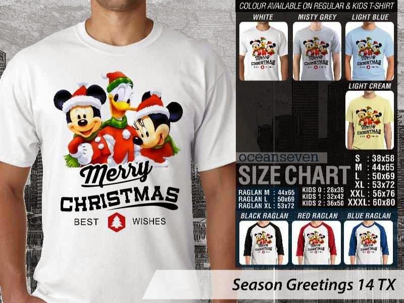 Kaos Natal Season Greetings 14 mickey mouse  distro ocean seven