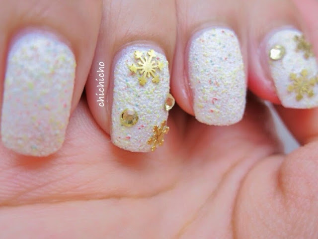 Sandy Snow and Snowflake Nail Art