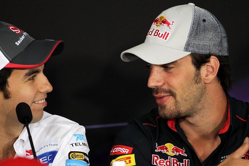 Серхио Перес и Жан-Эрик Вернь на пресс-конференции в четверг на Гран-при Канады 2012