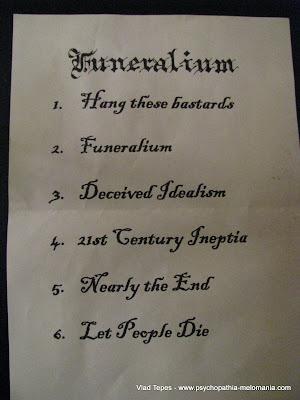 Funeralium : set-list @ Emporium Galorium, Rouen 05/11/2011
