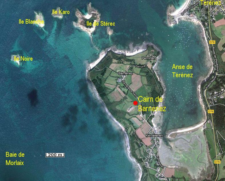 Le plan d'acc�s au cairn de Barnenez par Bretagne-web.fr
