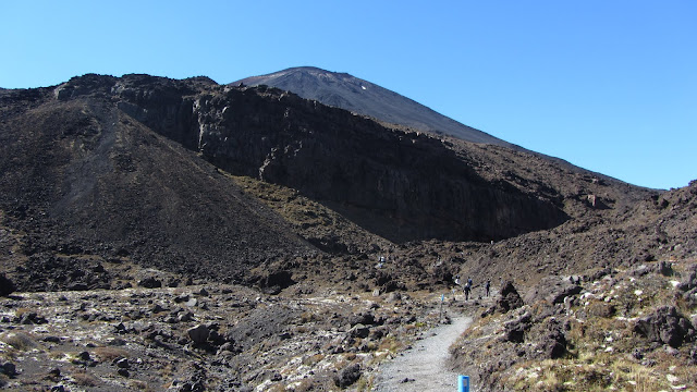 Walking through the Mangatepopo Valley, with the Devil's Staircase and Mt. Ngauruhoe straight ahead.