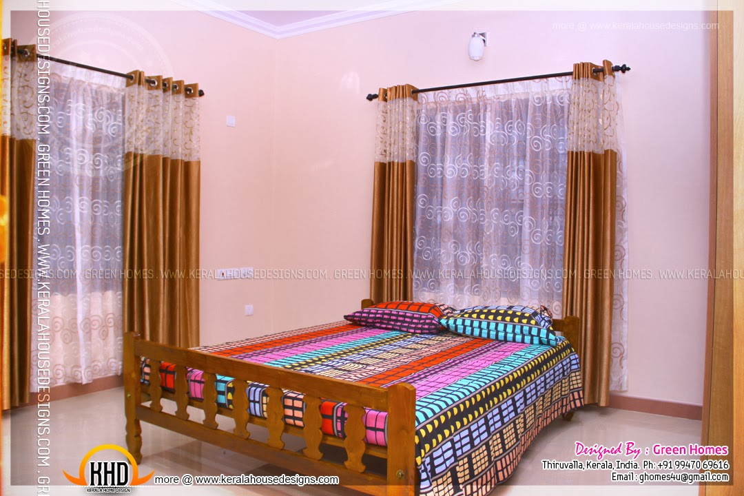 Completed home with interior photos kerala home design for Bedroom designs in kerala