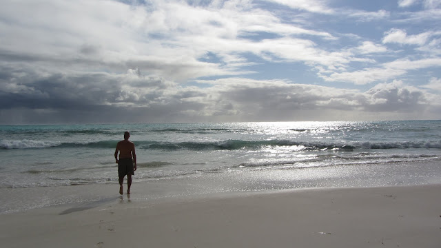 Going in for a dip on the long, desolate beach at Cervantes.