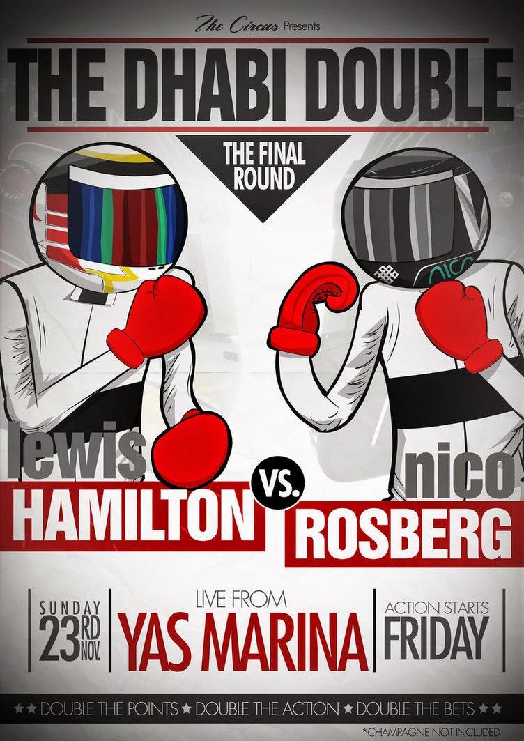 Льюис Хэмилтон и Нико Росберг в финальной битве на Яс Марине - постер-комикс The Circus перед Гран-при Абу-Даби 2014
