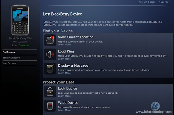 Screenshot website Blackberry protect