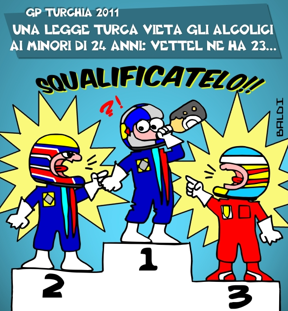 комикс Baldi по Гран-при Турции 2011 Себастьян Феттель пьет шампанское на подиуме