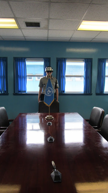 This conference table sits directly on top of the Military Demarcation Line (MDL).