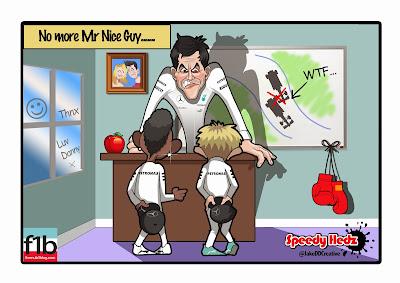 Тото Вольфф вызывает на ковер Льюиса Хэмилтона и Нико Росберга после Гран-при Бельгии 2014 - комикс SpeedyHedz