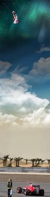 Макс Чилтон далеко в небе - фотошоп прыжка на тестах в Бахрейне 21 февраля 2014