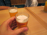 Free, very small glasses of beer at Kamakiri Udon
