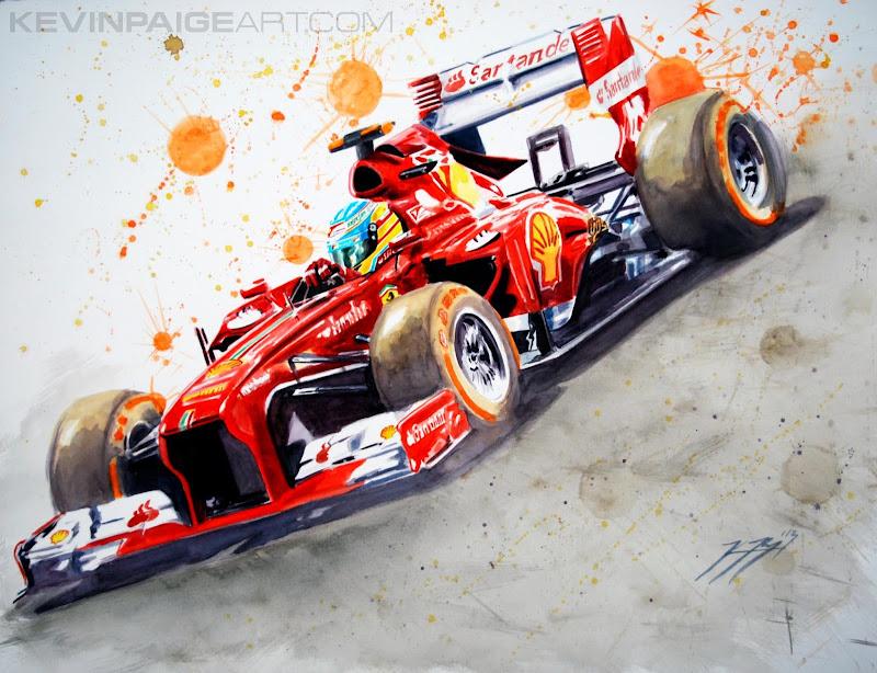 Фернандо Алонсо Ferrari 2013 - рисунок Kevin Paige Art