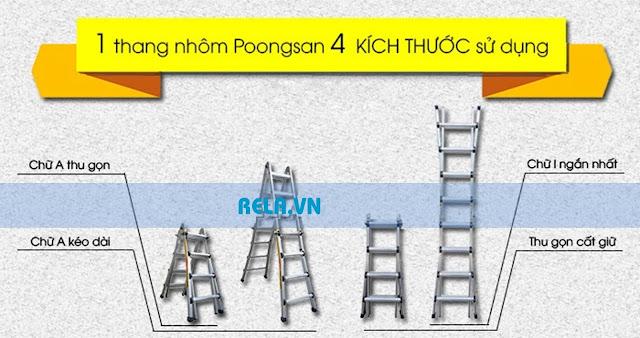 Thang nhôm poongsan ps 43 - thang nhôm chữ A Hàn Quốc