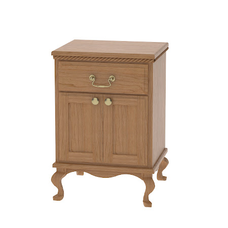 Queen Anne Nightstand with Door, Natural Cherry