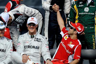 Михаэль Шумахер и Фелипе Масса на фотоссессии Гран-при Австралии 2012