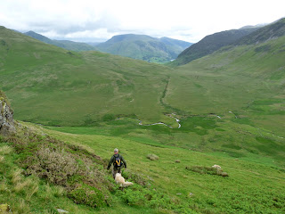 Heading off down to Mosedale. I decided to walk to Mellbreak and Roger joined me. The others headed back the way they came descending back down from Hen Comb to The Kirkstile in Loweswater